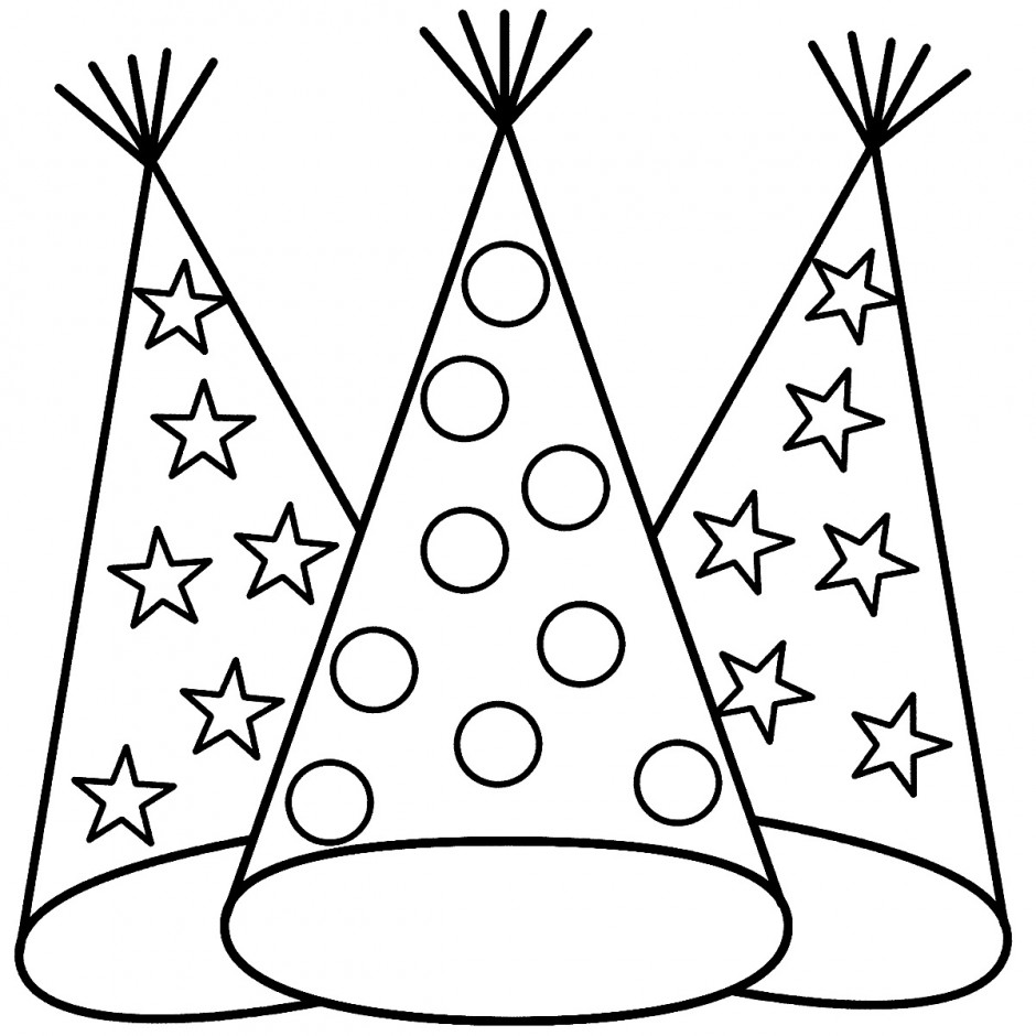 coloring pages of birthday hats birthday hat drawing clipart best of pages birthday coloring hats