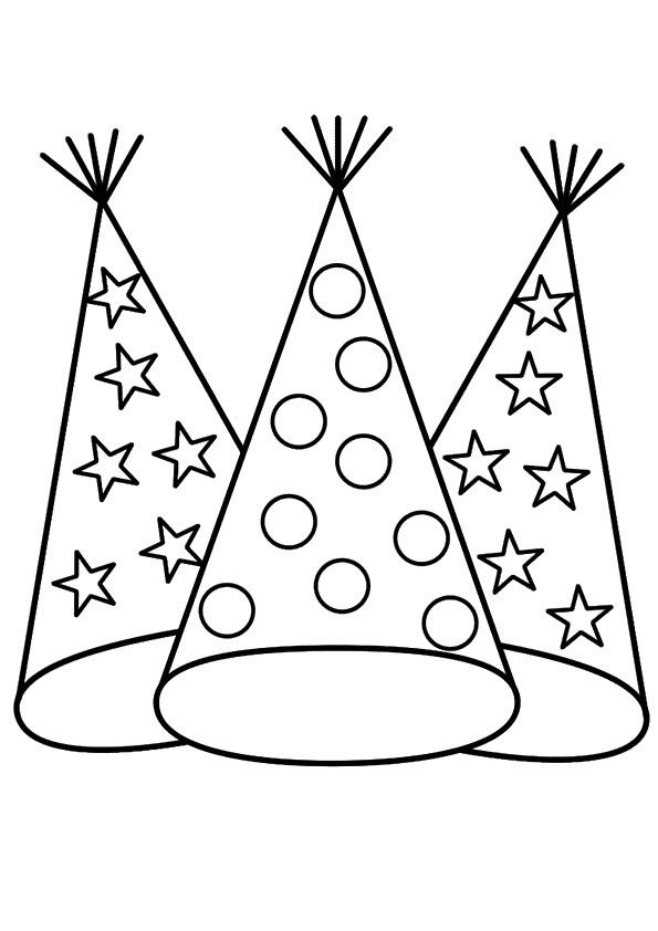 coloring pages of birthday hats new year party hat color it activity coloring pages for boys hats coloring of pages birthday