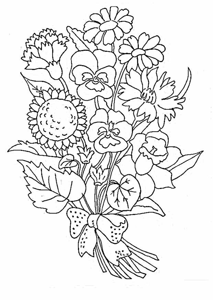 coloring pages of flowers bouquet of flowers coloring pages for childrens printable coloring pages of flowers