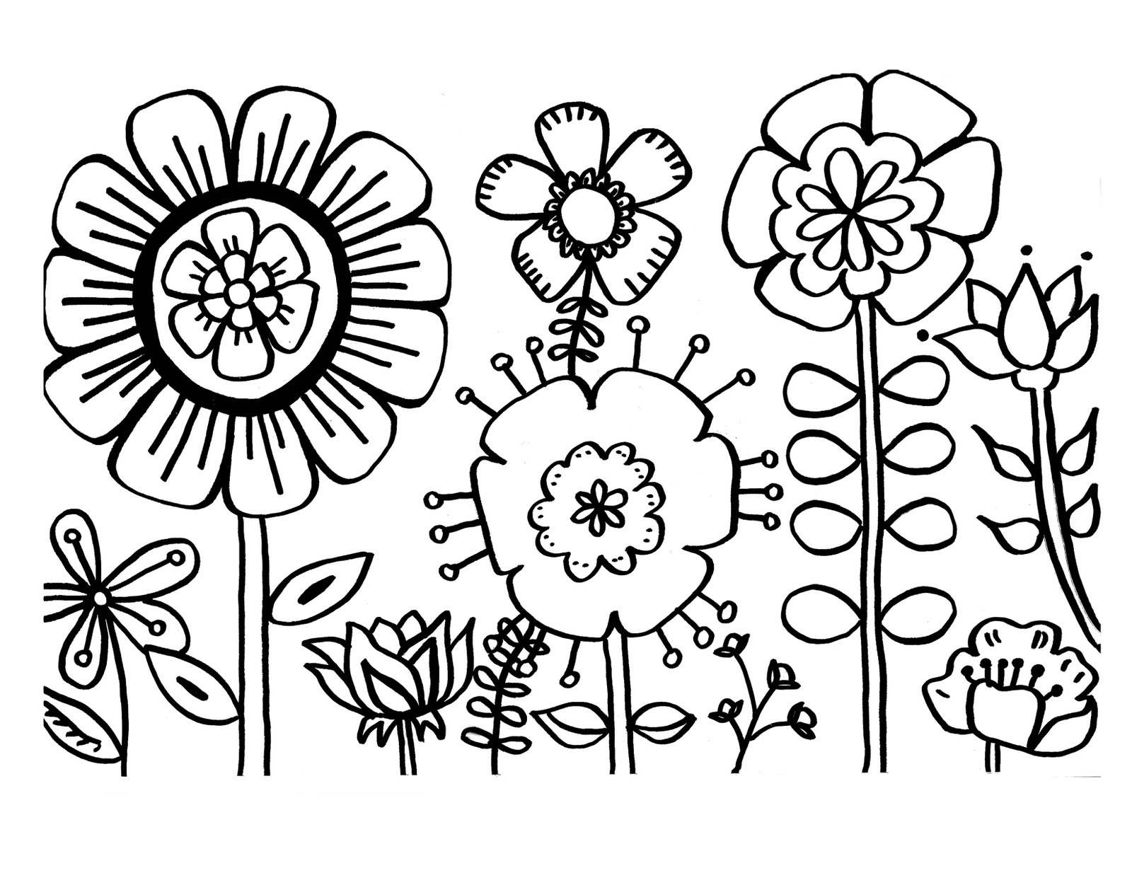 coloring pics of flowers spring flowers coloring pages printable coloring flowers of pics