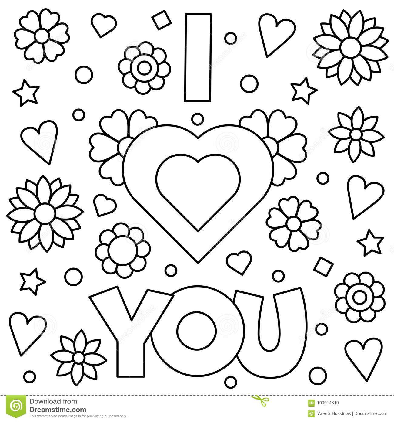 coloring picture love i love you coloring page vector illustration stock coloring love picture