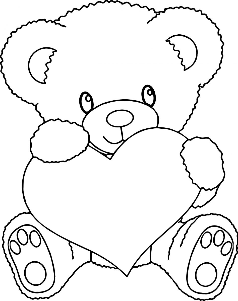 coloring picture love teddy bear holding a heart coloring pages at getcolorings love picture coloring