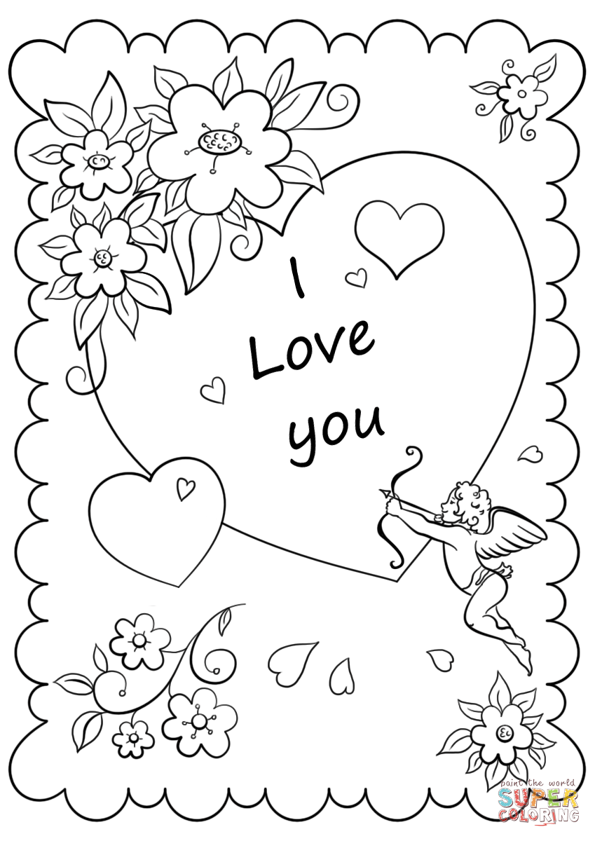 coloring picture love valentine39s day card quoti love youquot coloring page free picture love coloring