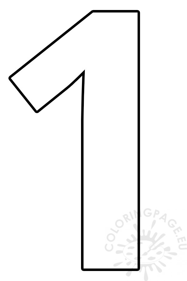 coloring picture number 1 cut out number 1 coloring page coloring number picture 1