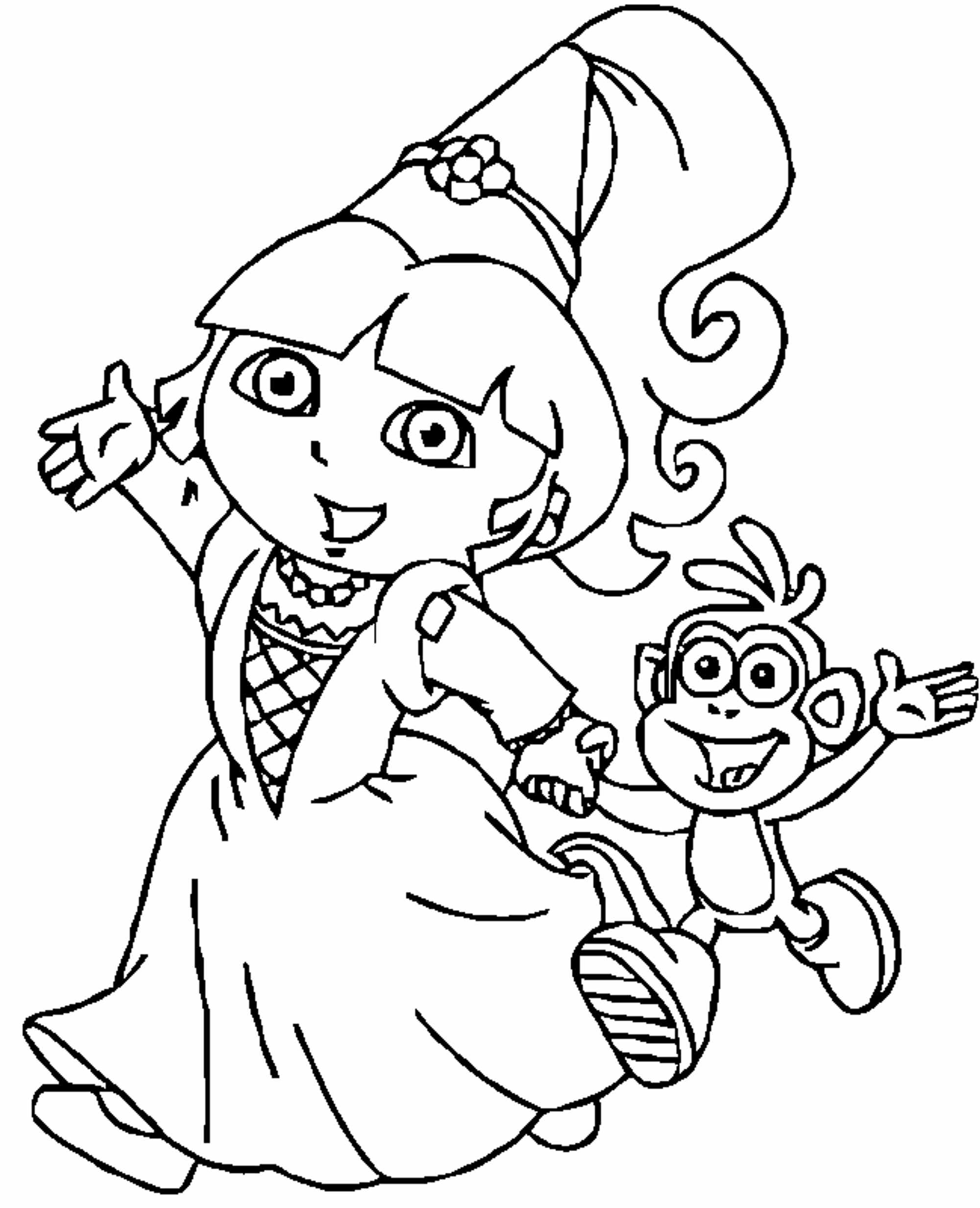 coloring picture of dora dora coloring pages free printables momjunction dora coloring of picture