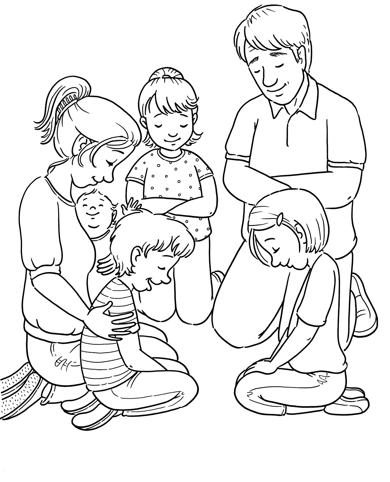 coloring picture of family family prayer picture family coloring of