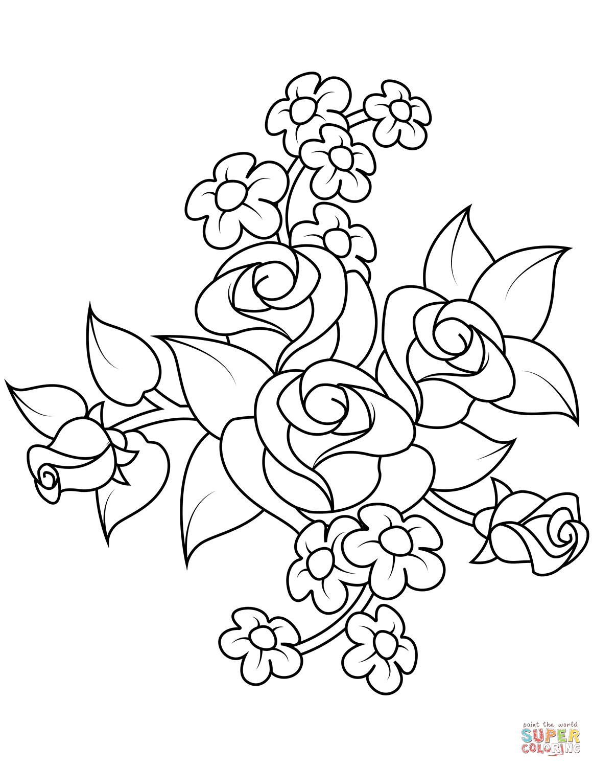 coloring picture rose bouquet of roses coloring page free printable coloring pages rose picture coloring