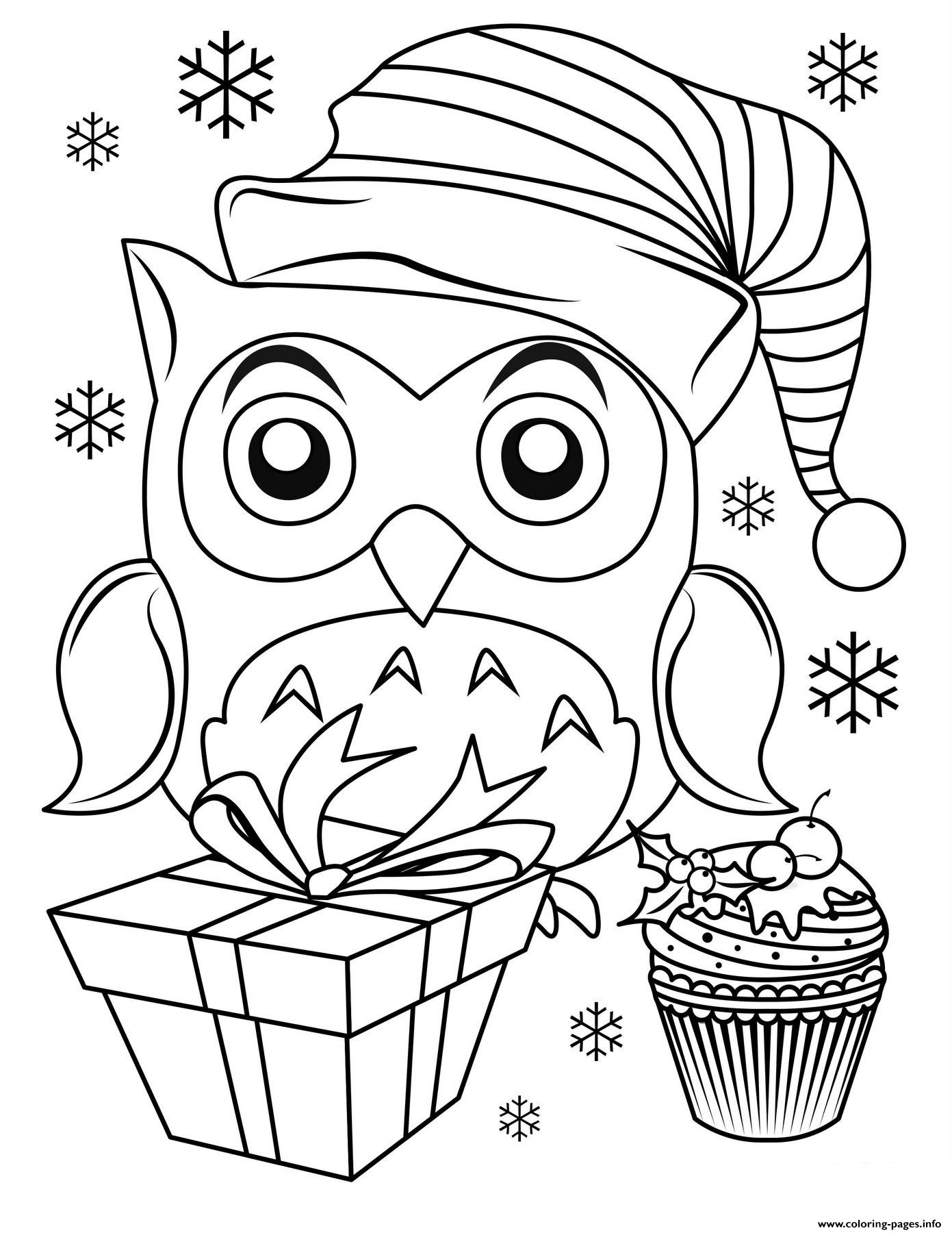 coloring picture to print cute christmas owl coloring pages printable print picture to coloring