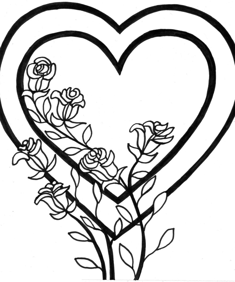 coloring pictures of flowers and hearts free printable heart shaped flower coloring page of coloring pictures hearts flowers and