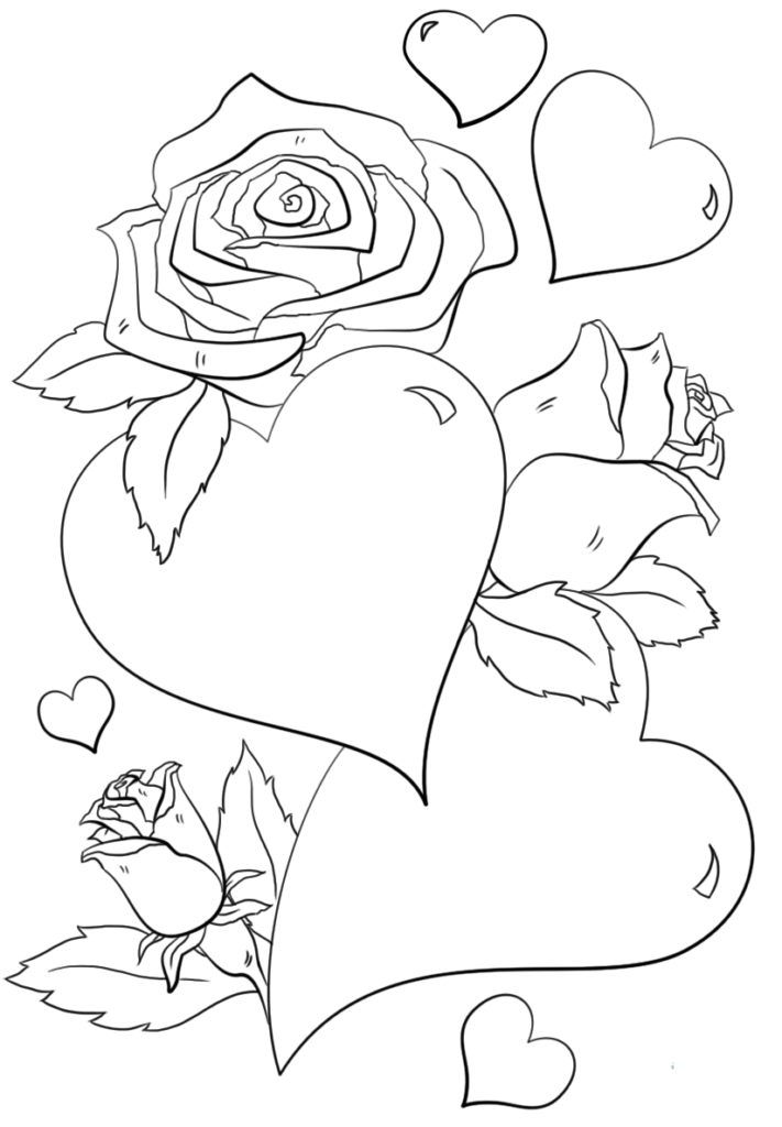 coloring pictures of flowers and hearts free printable heart with flowers pdf coloring page pictures hearts flowers of and coloring