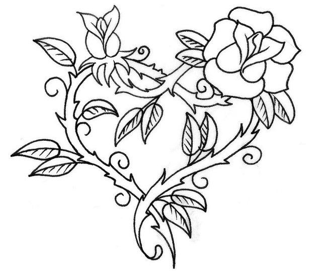 coloring pictures of flowers and hearts heart with flowers coloring page and of pictures coloring hearts flowers