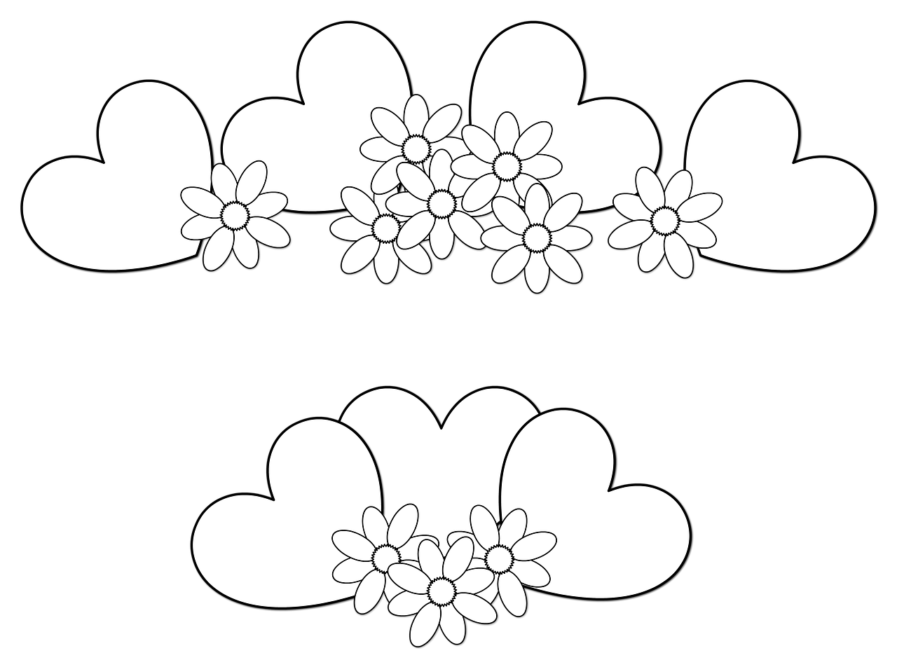 coloring pictures of flowers and hearts hearts and flowers coloring page flowers hearts coloring and of pictures