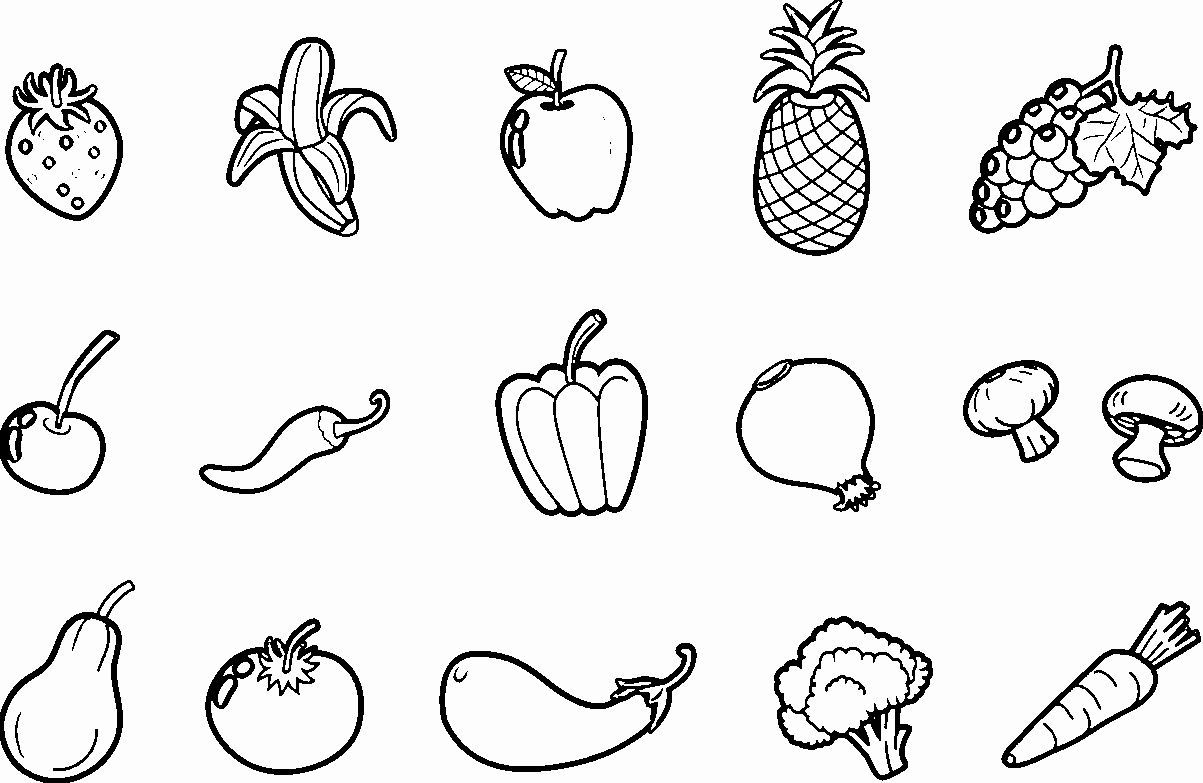 coloring printable fruits and vegetables fruit and vegetable drawing at getdrawings free download and fruits printable coloring vegetables