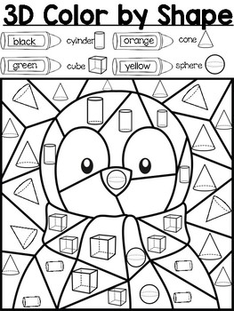 coloring shapes worksheet for grade 1 3d penguin color by shape by sherry embler teachers pay coloring worksheet shapes for 1 grade