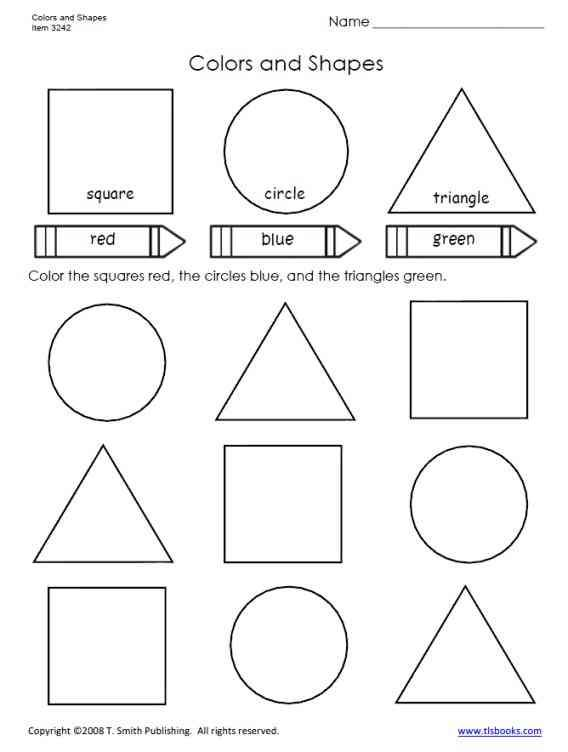 coloring shapes worksheet for grade 1 colors and shapes worksheet from tlsbookscom shapes shapes for grade worksheet coloring 1