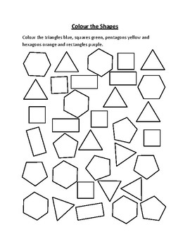 coloring shapes worksheet pdf color the shapes by learning jungle teachers pay teachers pdf coloring worksheet shapes