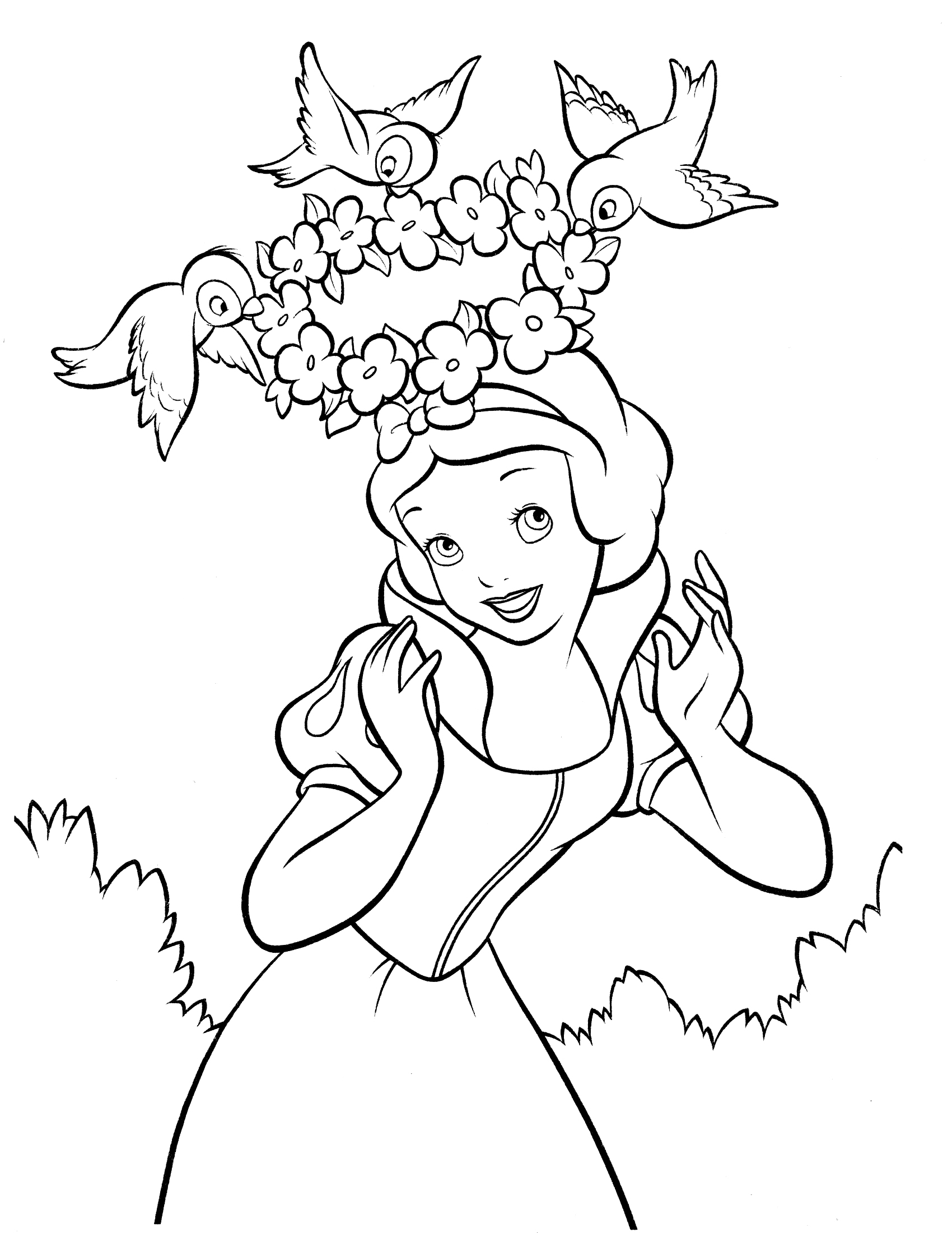 coloring snow white birds coloring page snow white and a bird snow white coloring birds