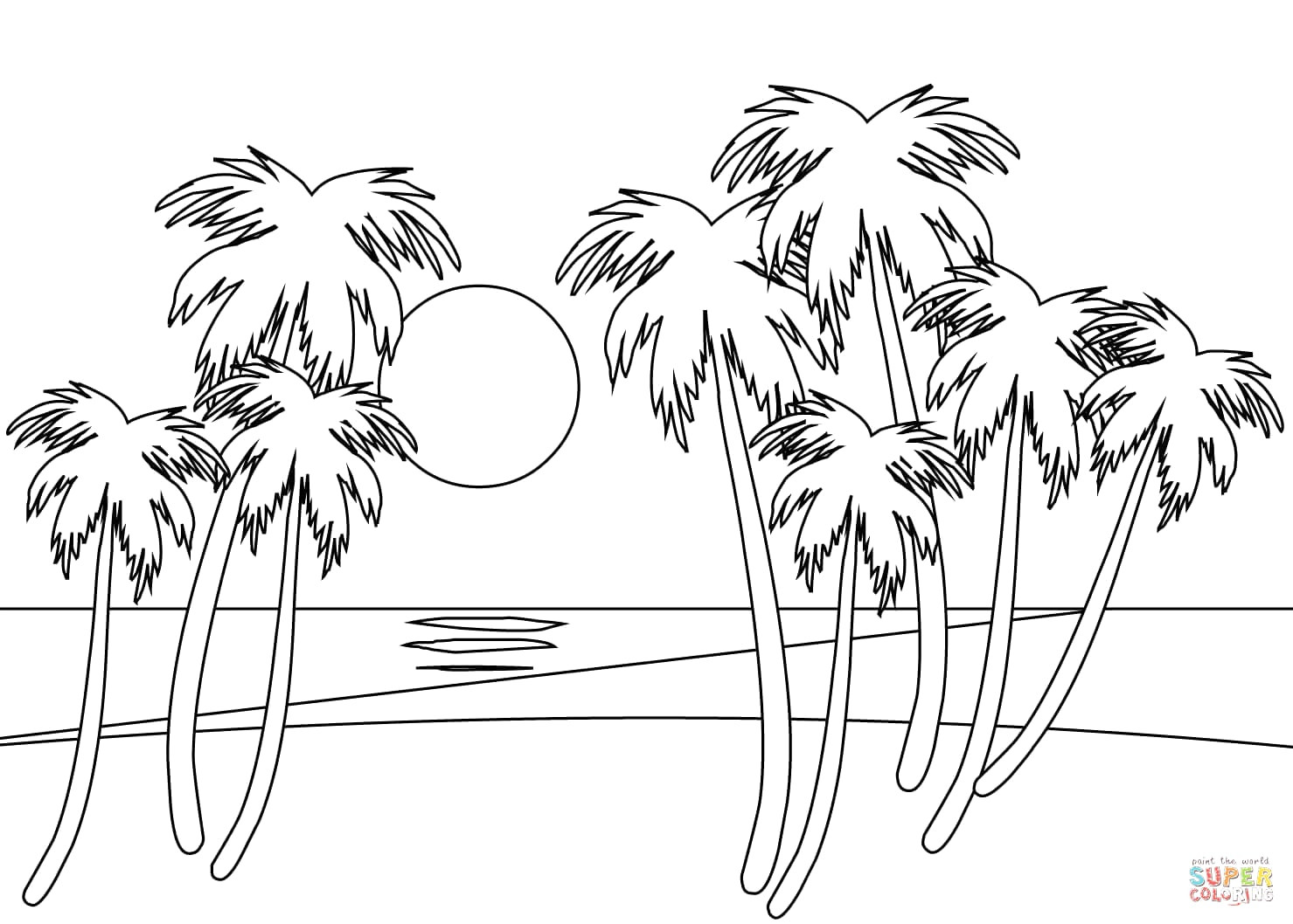 coloring sunset beach sunrise coloring page embroidery pattern beach art sunset coloring