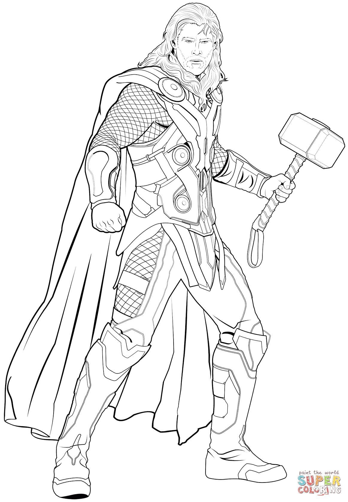 coloring thor outline thor avengers drawing at getdrawings free download thor outline coloring