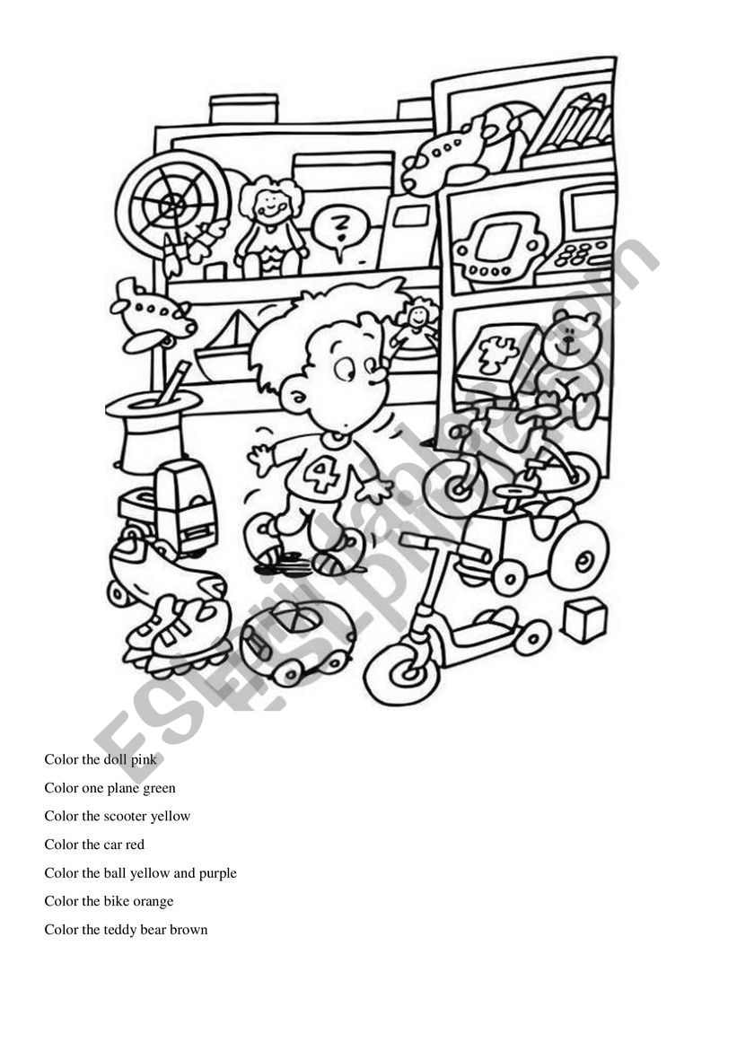 coloring toy worksheet color the toys esl worksheet by luanaalmeida worksheet coloring toy