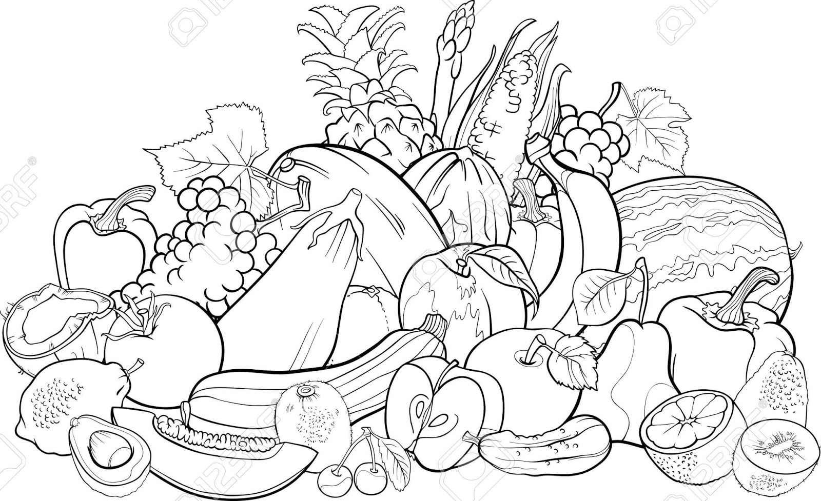 coloring vegetables and fruits free coloring pages of vegetable gardens vegetables coloring fruits and