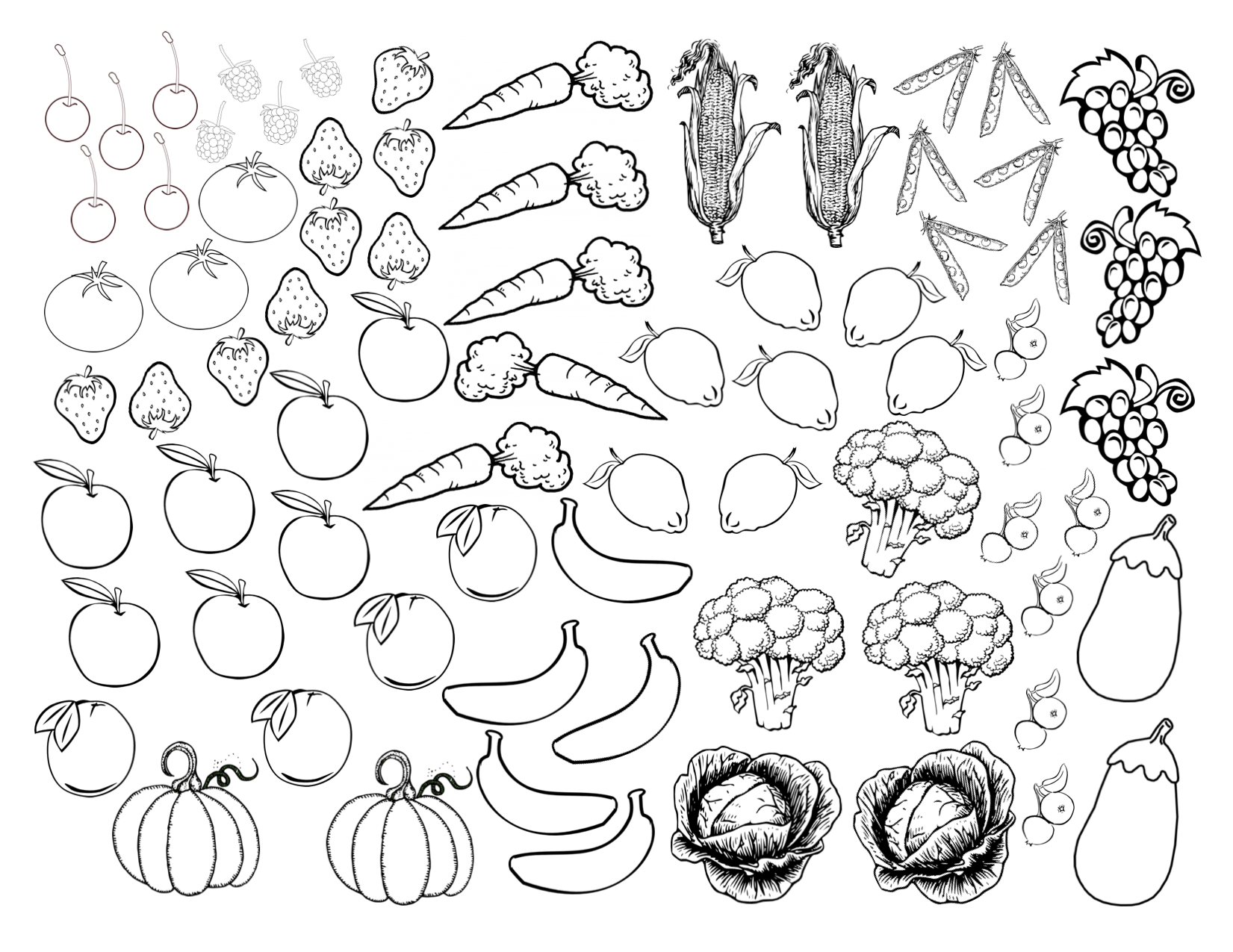 coloring vegetables and fruits fruit and vegetables coloring pages for kids printable vegetables fruits and coloring