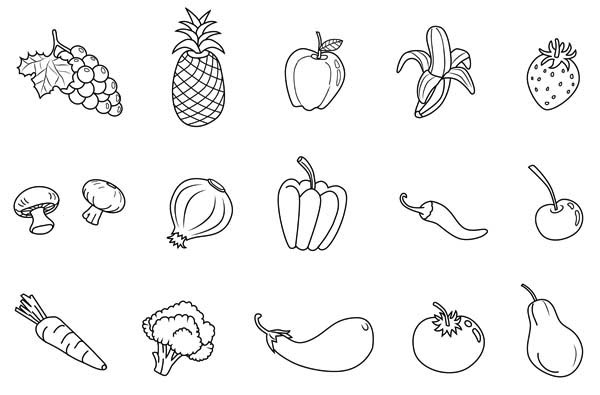 coloring vegetables and fruits fruits and vegetables coloring pages for kids printable at coloring fruits vegetables and