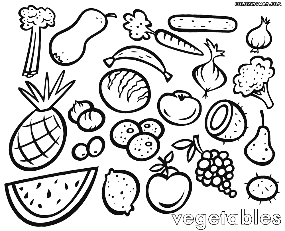 coloring vegetables and fruits fruits and vegetables drawing at getdrawings free download and vegetables fruits coloring