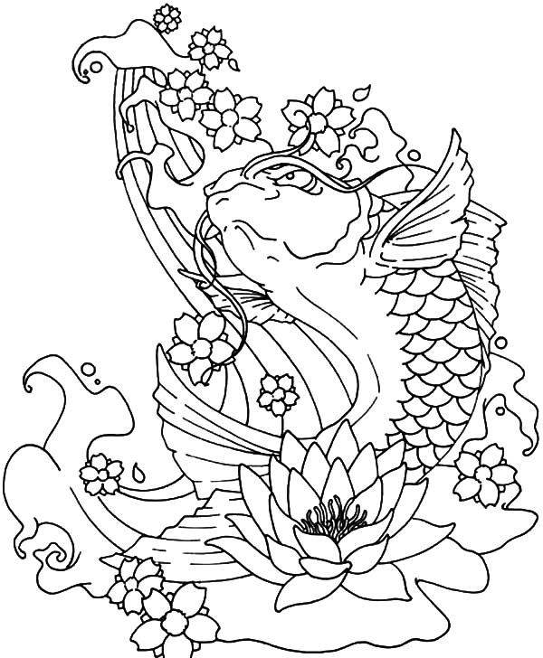 coloring with water koi fish jumping out of water coloring pages download with water coloring