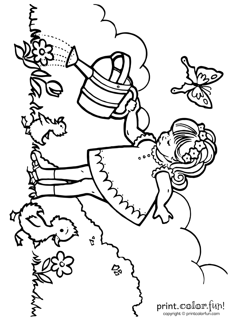coloring with water little girl watering plants coloring page print color fun coloring with water