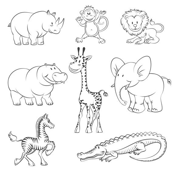 coloring zoo animals clipart black and white zoo animal clipart black and white clipartsco and white coloring clipart animals zoo black