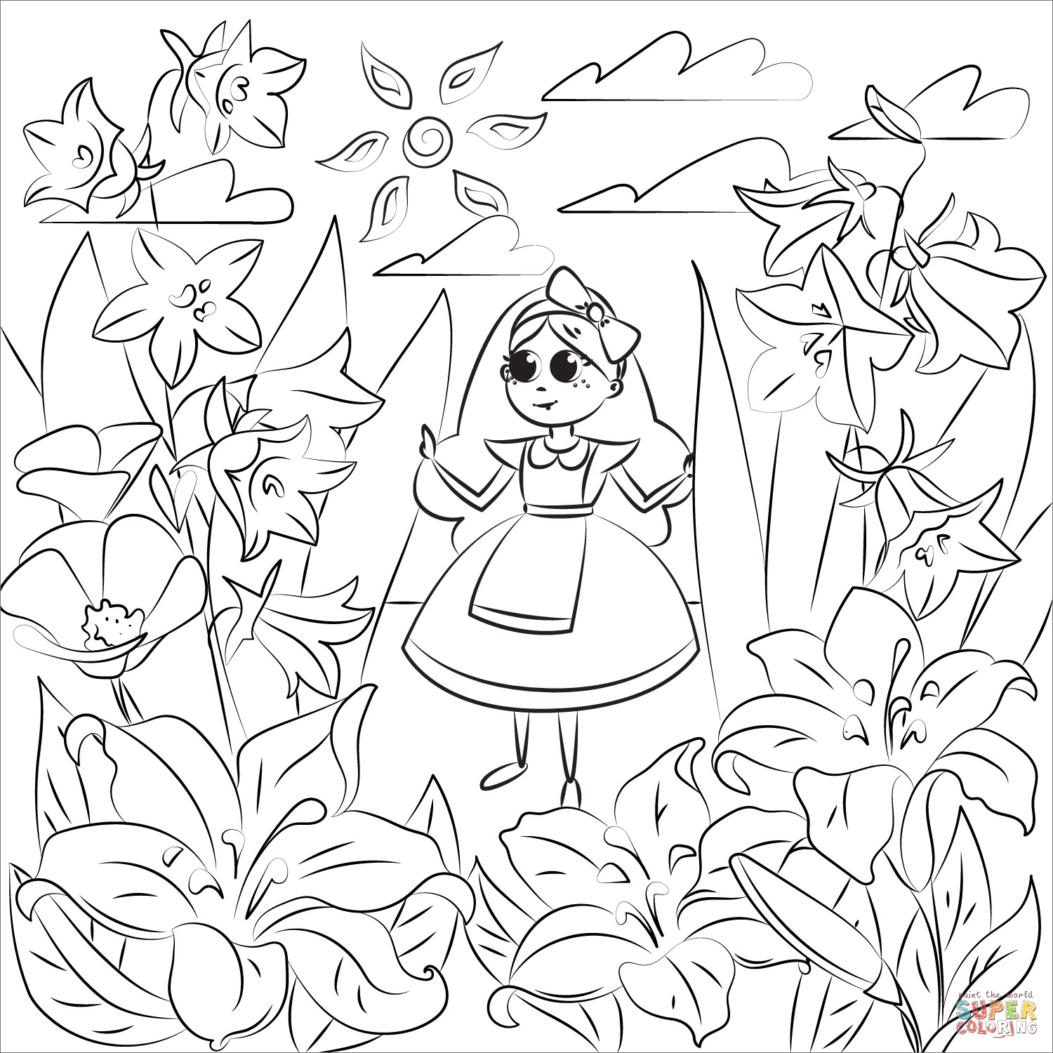 colouring pages alice in wonderland alice in wonderland coloring page free printable wonderland pages colouring in alice