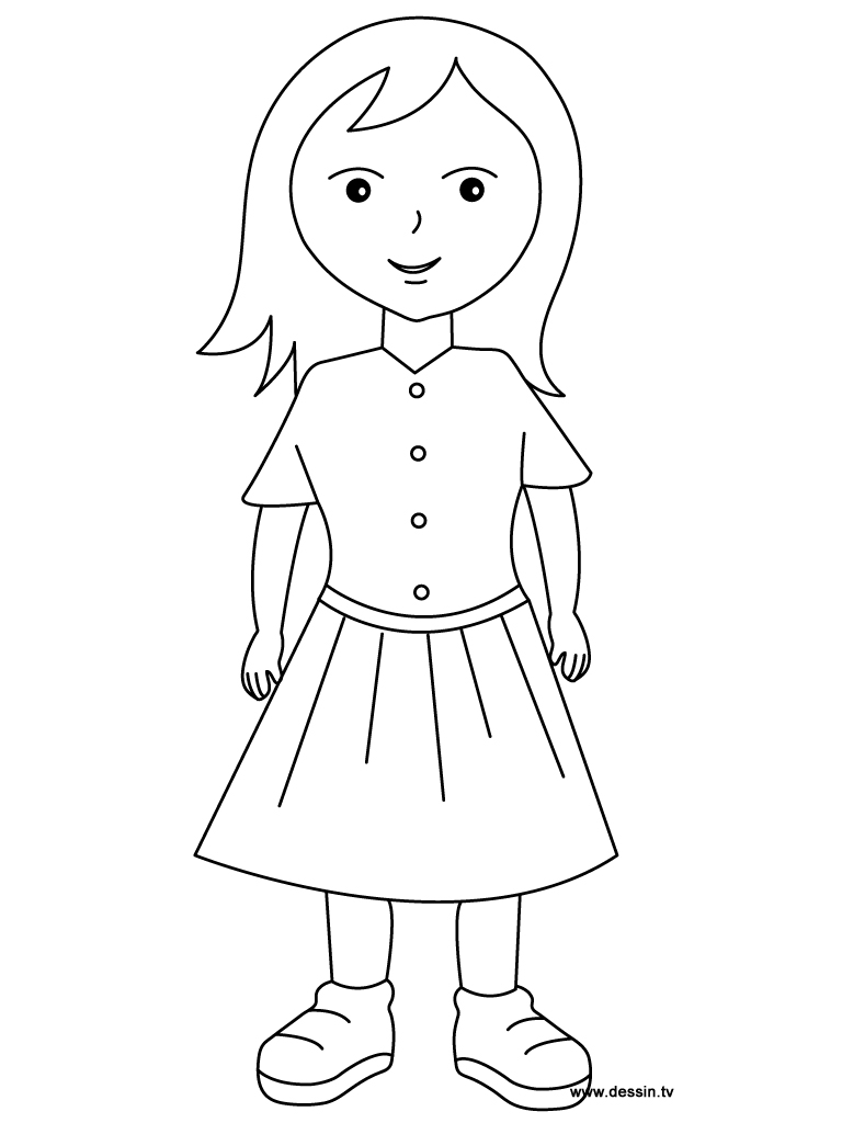 colouring picture of girl girl clipart outline free download on clipartmag of girl picture colouring
