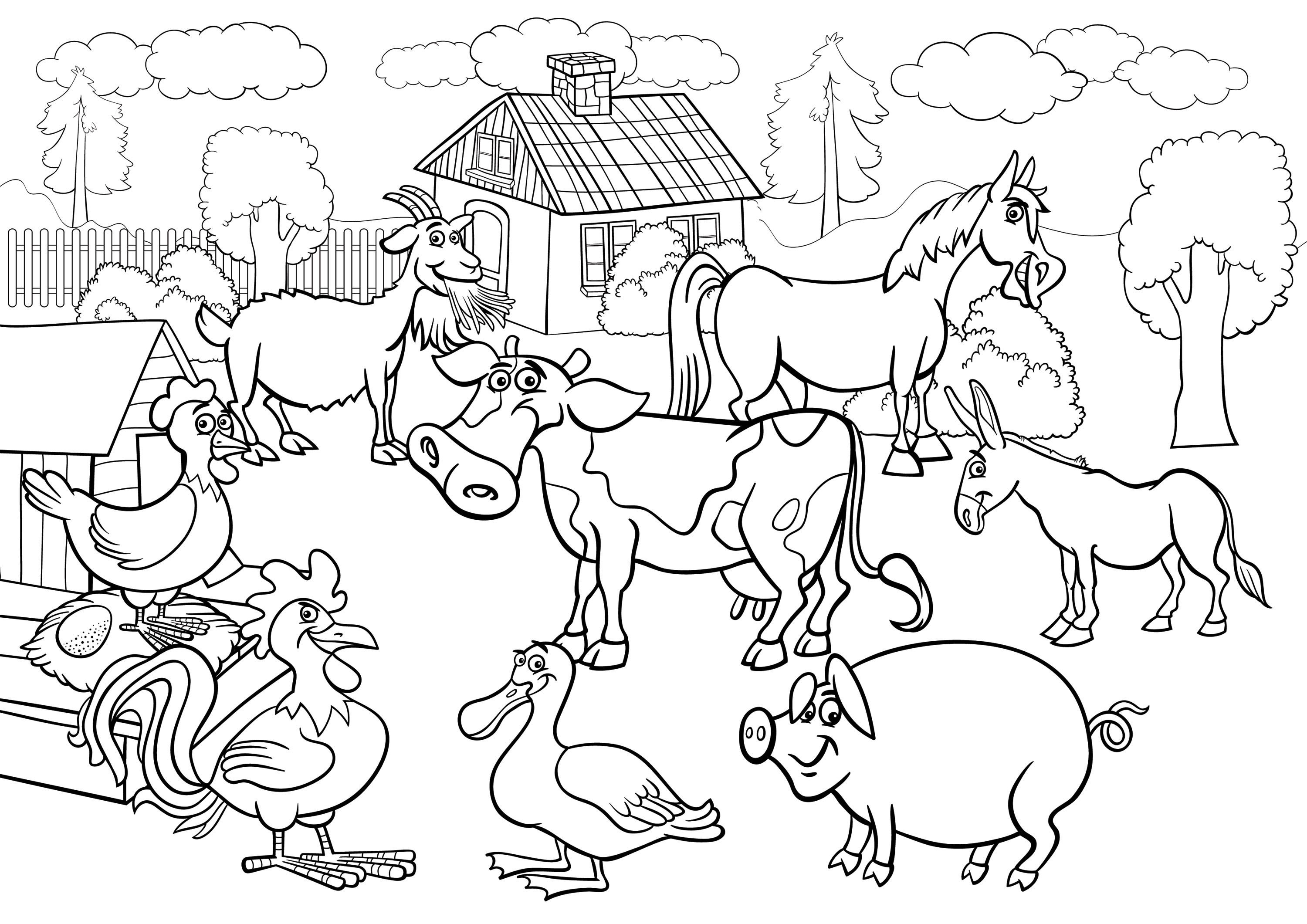 cute farm coloring pages farmer boy driving a tractor and carrying farm animals coloring cute farm pages