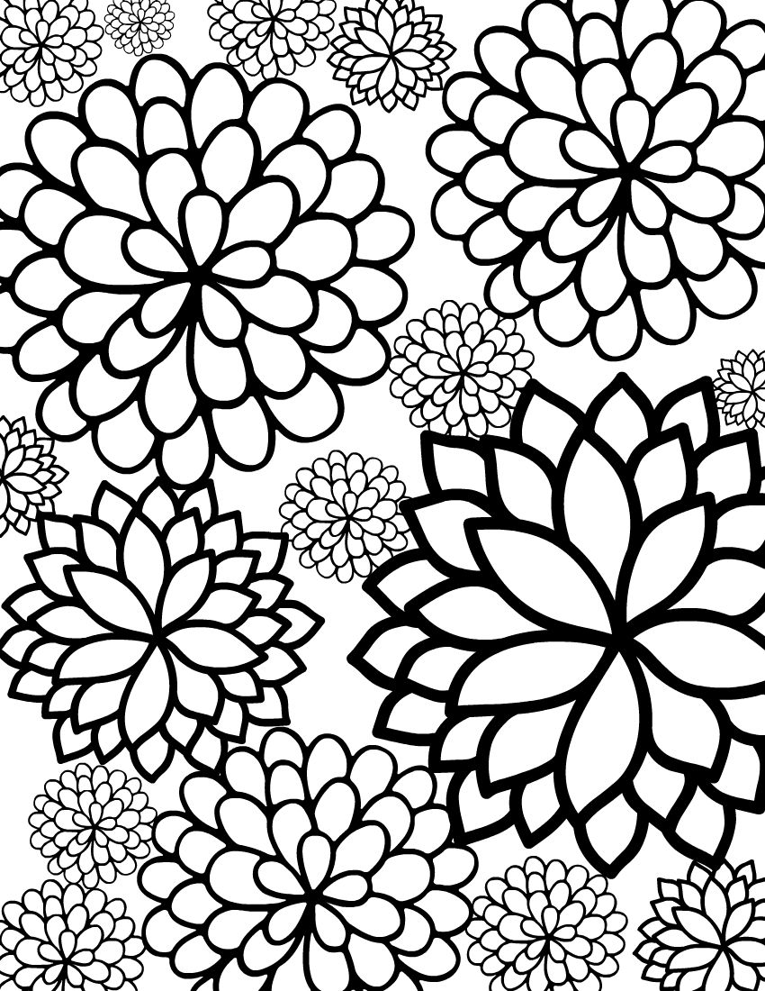 cute flower coloring pages free printable bursting blossoms flower coloring page cute flower coloring pages