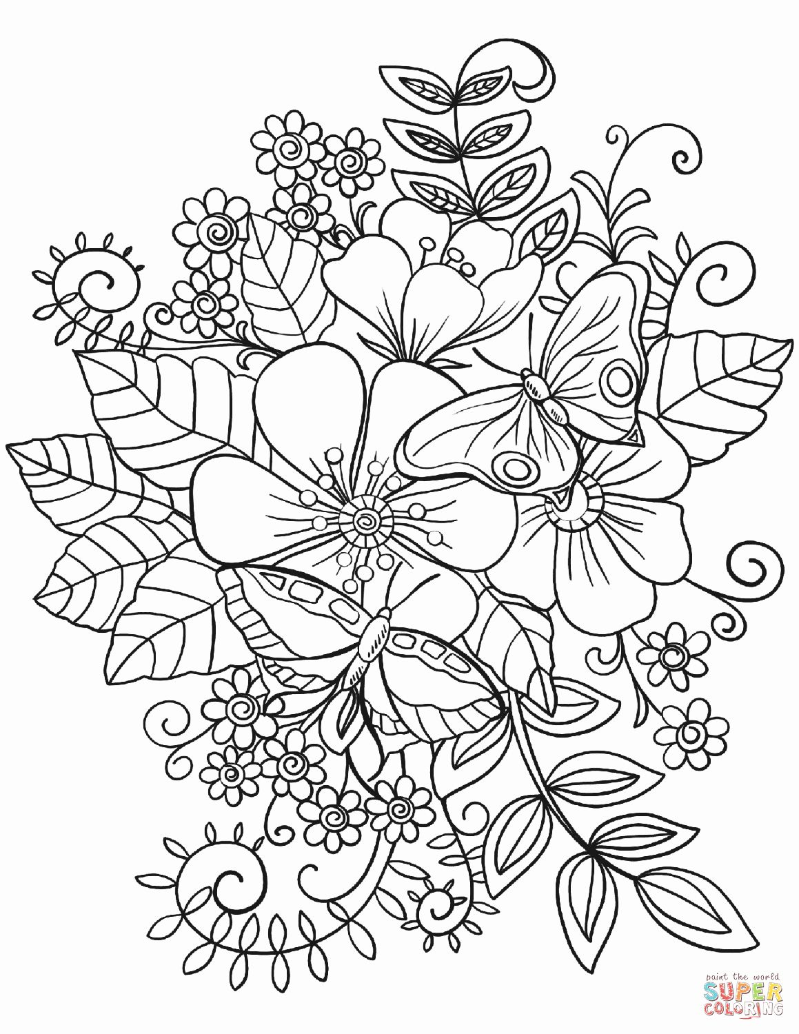 cute flower coloring pages printable adult coloring pages flowers elegant butterflies coloring cute flower pages