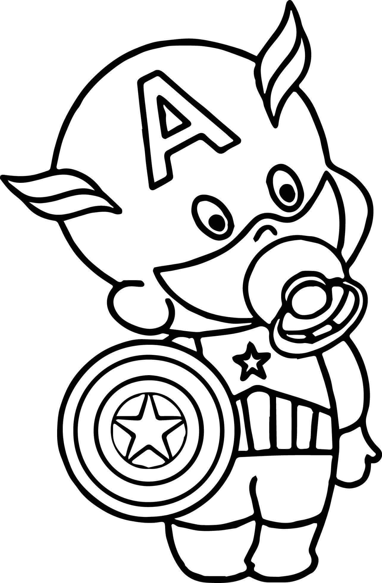 cute marvel coloring pages chibi captain america coloring page with images coloring cute marvel pages