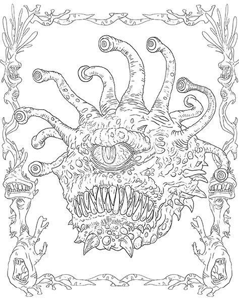 d is for dragon coloring page from nathaniel wakes wakes adult coloring book dragon d page dragon coloring for is