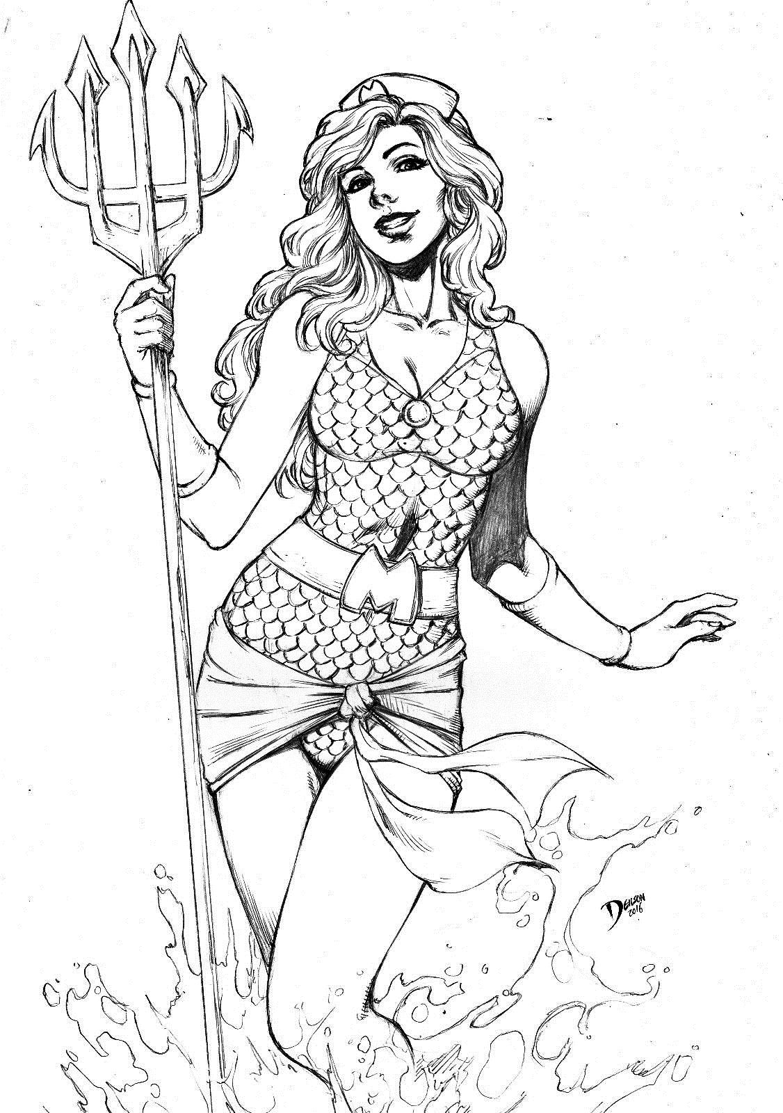 dc comics coloring pages bombshell mera by deilson adult coloring books free pages comics coloring dc
