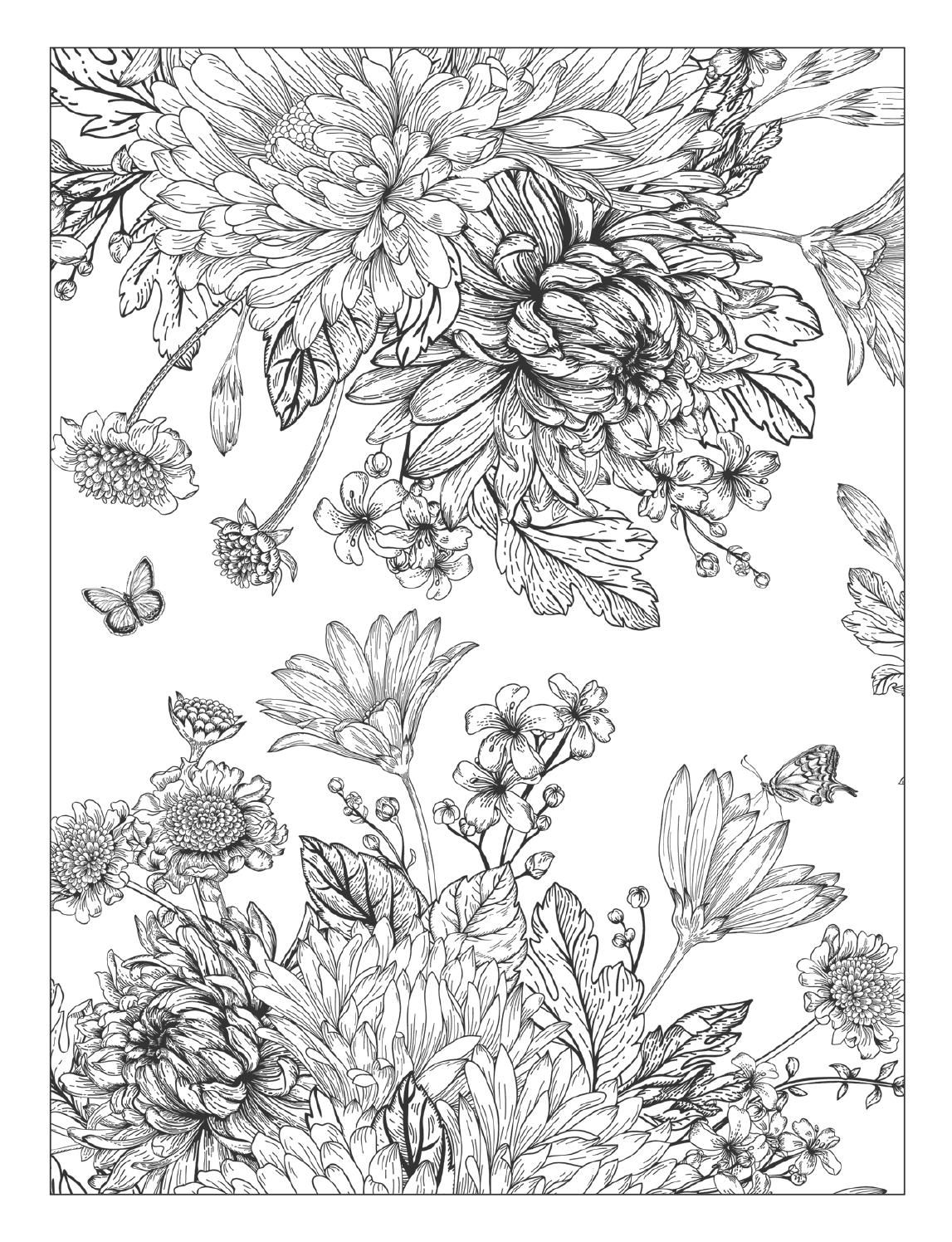 detailed flower coloring pages detailed flower coloring pages for adults flower flower pages coloring detailed