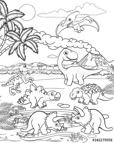 dinosaur landscape coloring page a dinosaur cartoon cute animal background prehistoric dinosaur coloring page landscape