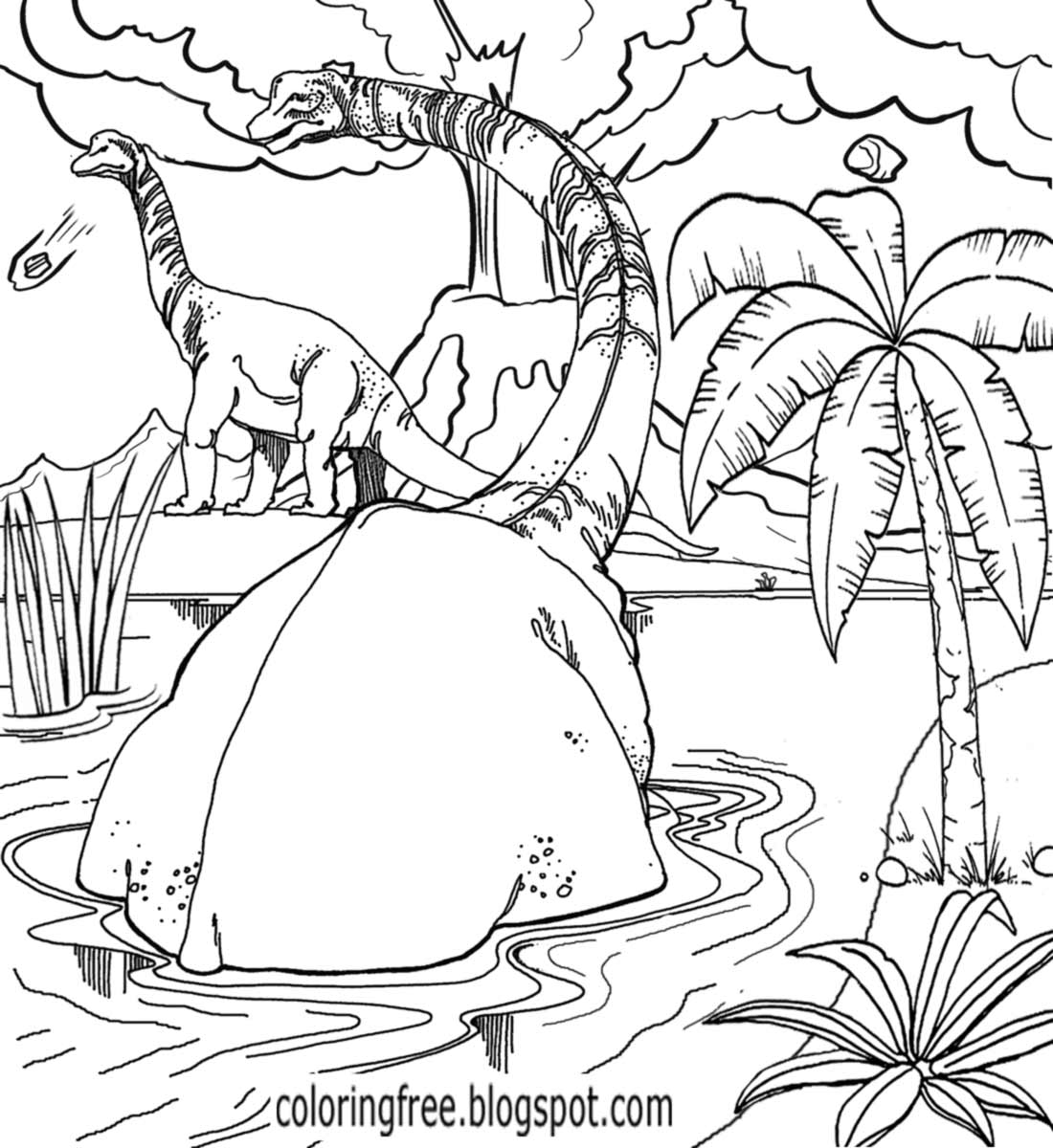 dinosaur landscape coloring page free coloring pages printable pictures to color kids dinosaur landscape coloring page
