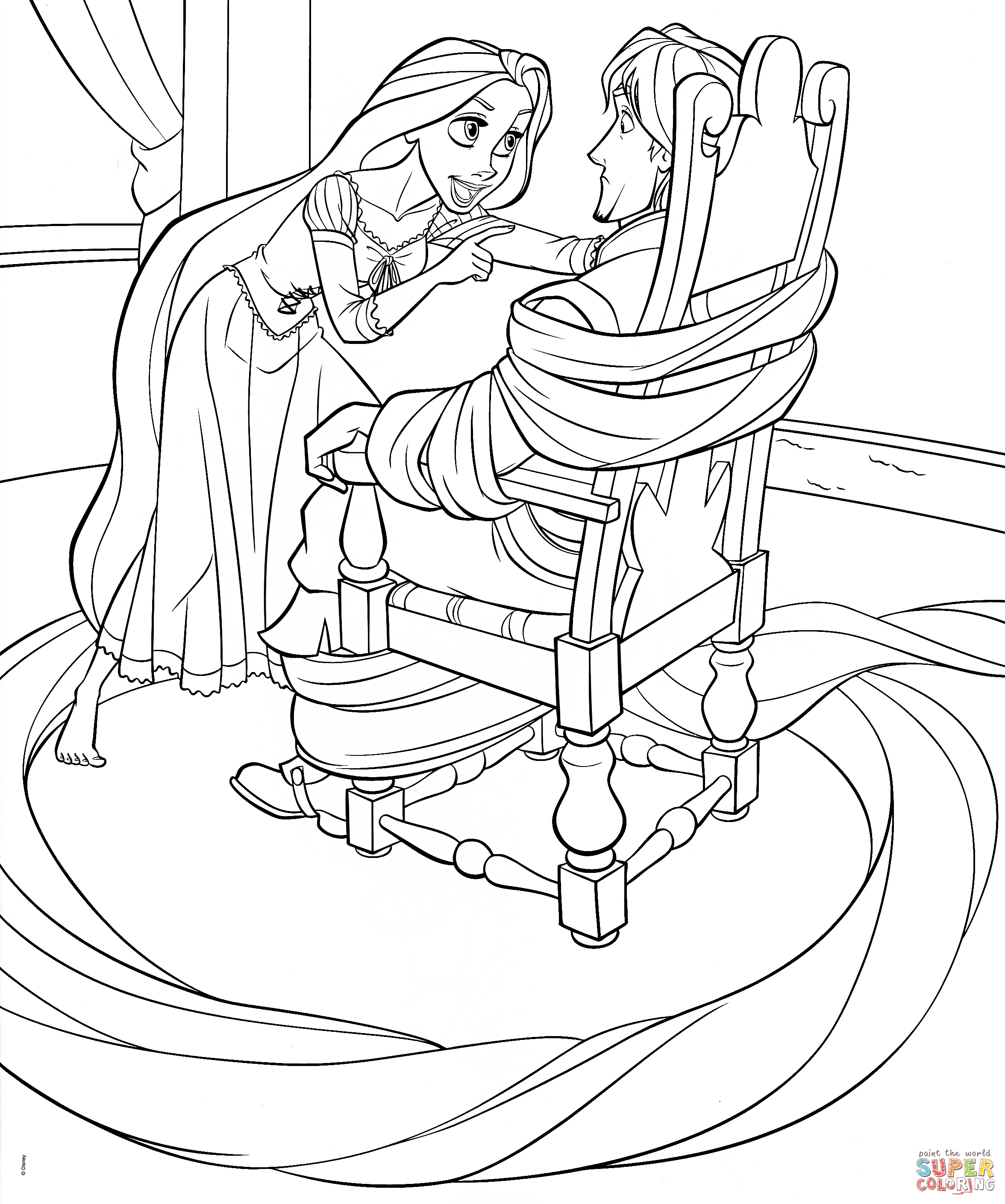 disney rapunzel pictures to color rapunzel ties up flynn coloring page free printable pictures to disney color rapunzel