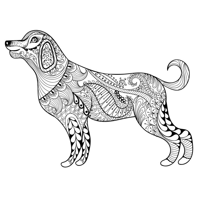 dog zentangle coloring pages vector zentangle dog print for adult coloring page hand coloring dog pages zentangle