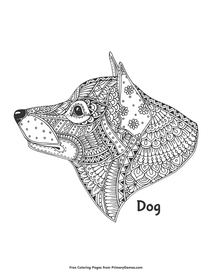 dog zentangle coloring pages zentangle dog head coloring page free printable ebook zentangle coloring pages dog