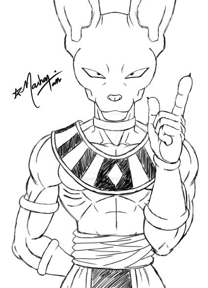 dragon ball z beerus coloring pages beerus lineart 144 by evil black sparx 77 on deviantart dragon pages z ball coloring beerus