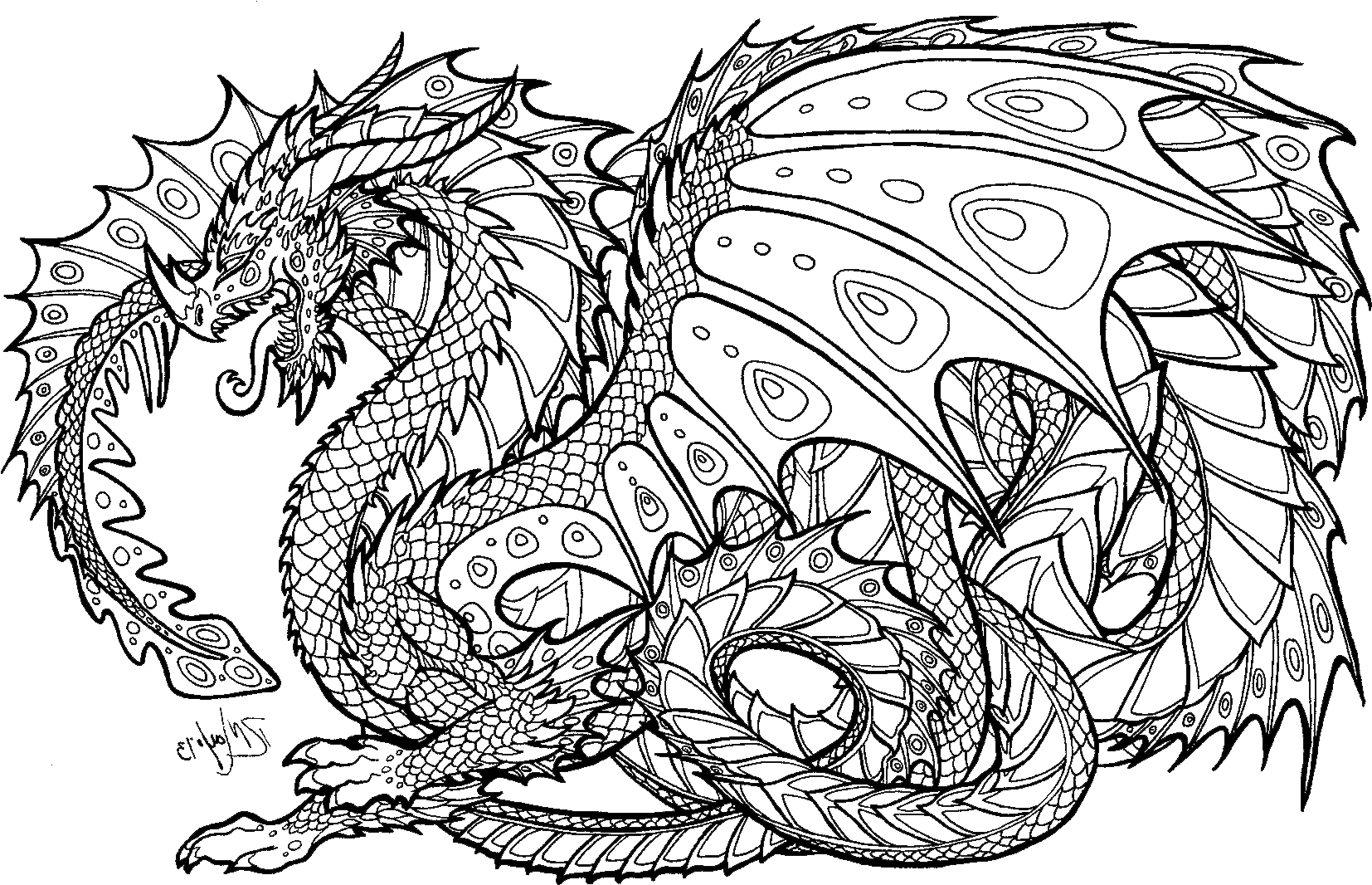 dragon to color realistic dragon coloring pages for adults adult color dragon to