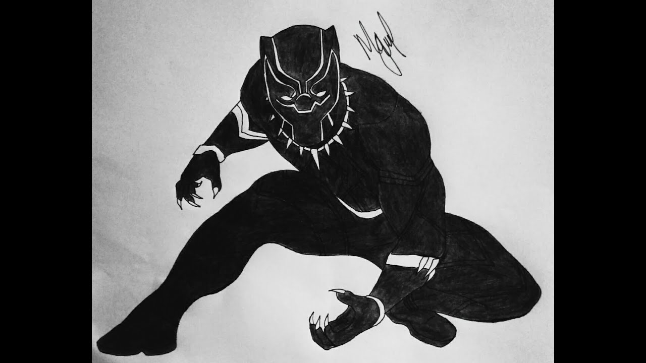 drawing of a black panther how to draw black panther from civil war youtube black of a drawing panther