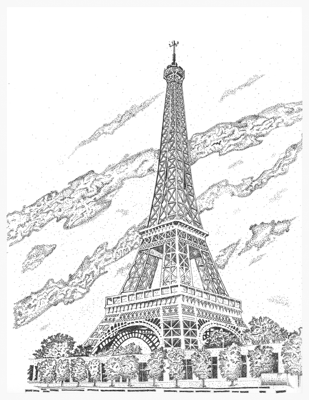 drawing of the eiffel tower black and white eiffel tower drawing at getdrawings free tower eiffel drawing of the