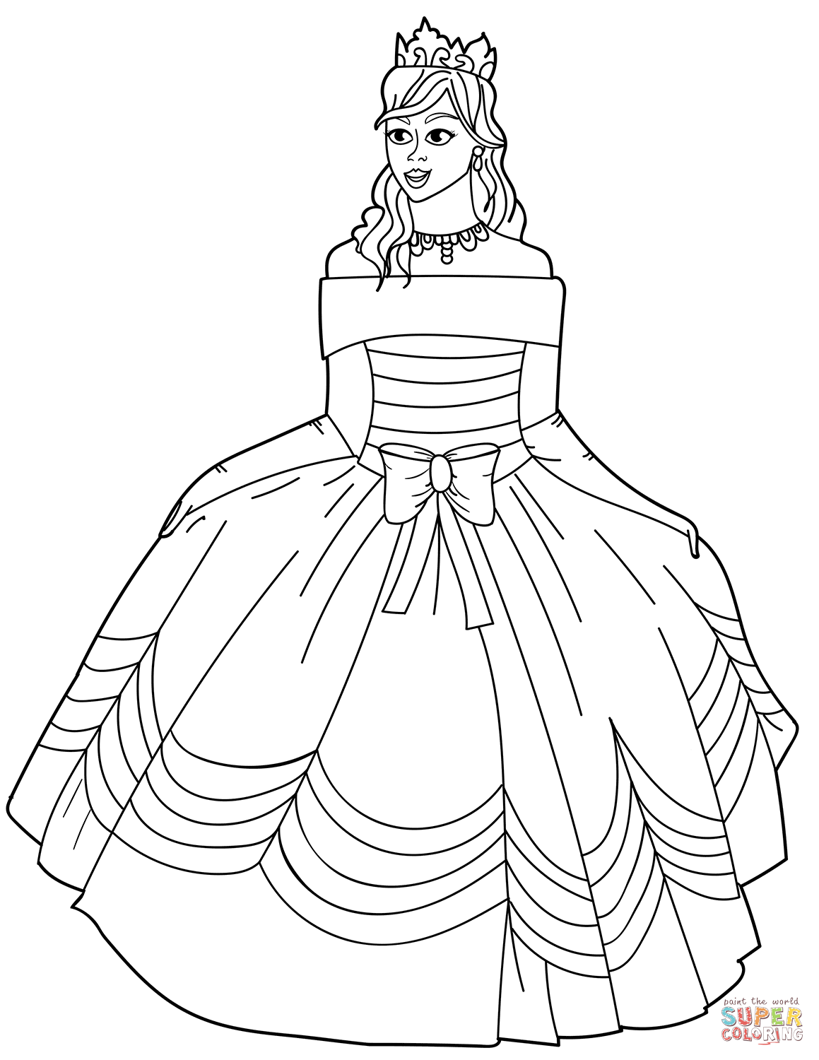 dress for coloring princess in ball gown off the shoulder dress coloring page dress coloring for